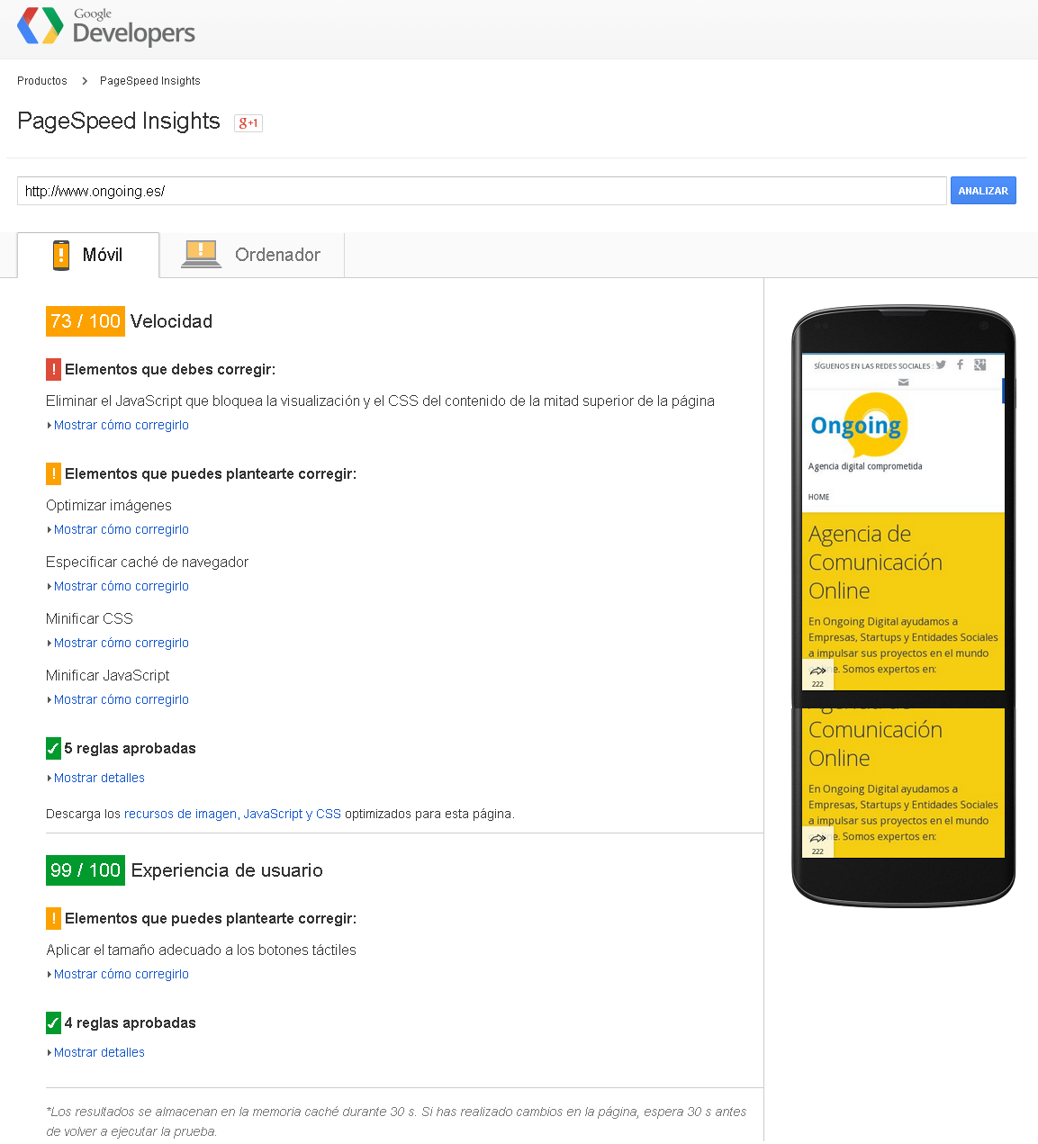 PageSpeed Insights - Ongoing Movil