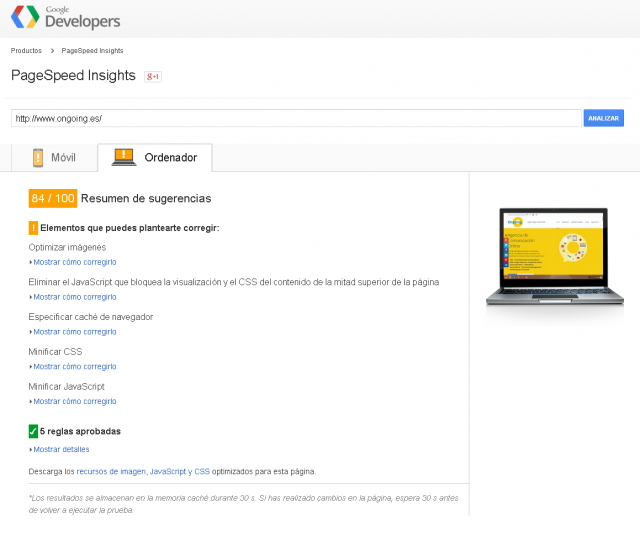 PageSpeed Insights - Ongoing.es